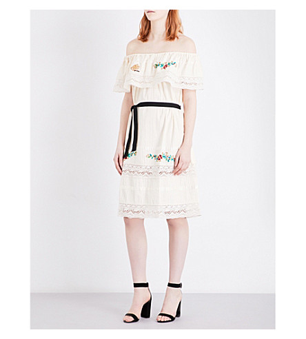 MAJE Riko embroidered cotton dress (Ecru