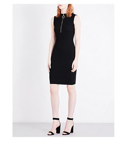 MAJE Rill zipped stretch-jersey dress (Black
