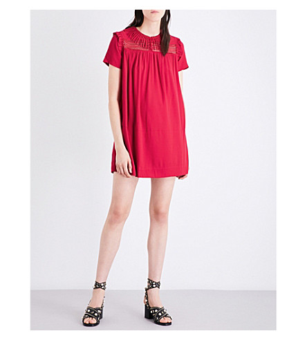 MAJE Riseta crepe dress (Framboise