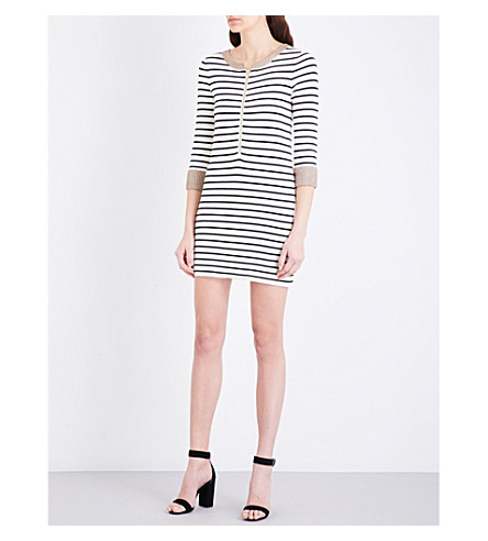 MAJE Ritani striped stretch-knit mini dress (Ecru