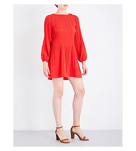 MAJE Rockin pleated crepe mini dress (Rouge
