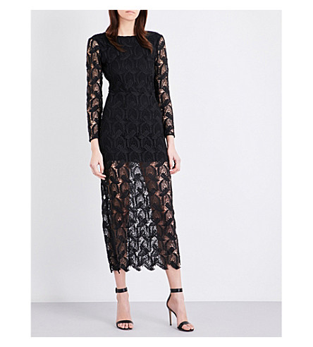 MAJE Rosane guipure-lace and crepe midi dress (Black