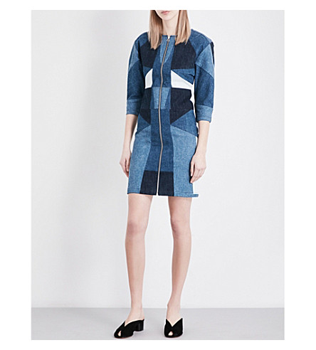 MAJE Rosen patchwork pure-cotton denim dress (Bleu
