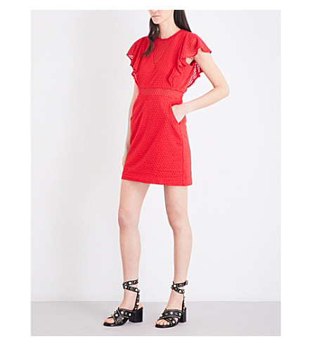 MAJE Roucoul heart-embroidered silk-blend dress (Rouge