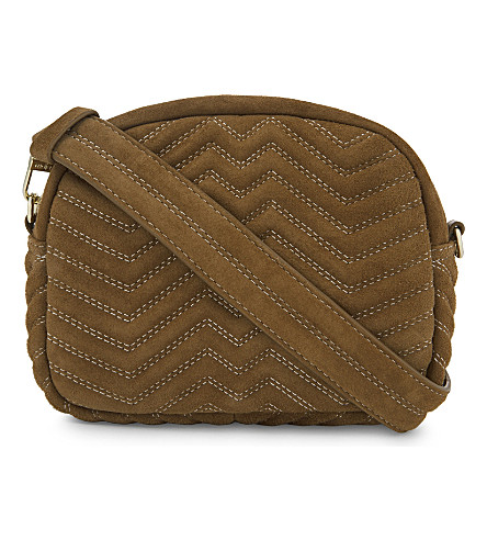 MAJE Sami quilted suede cross-body bag (Camel