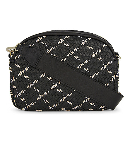 MAJE Sam woven leather shoulder bag (Black