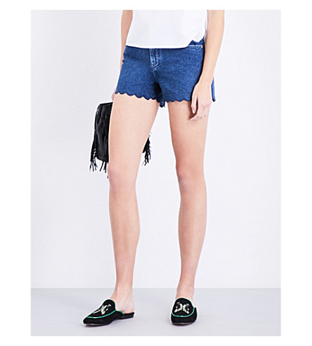 MAJE Shaft mid-rise denim shorts (Denim