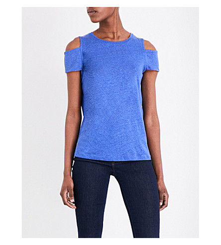 bd1ed5074cf ... linen cold-shoulder top (Bleu. PreviousNext