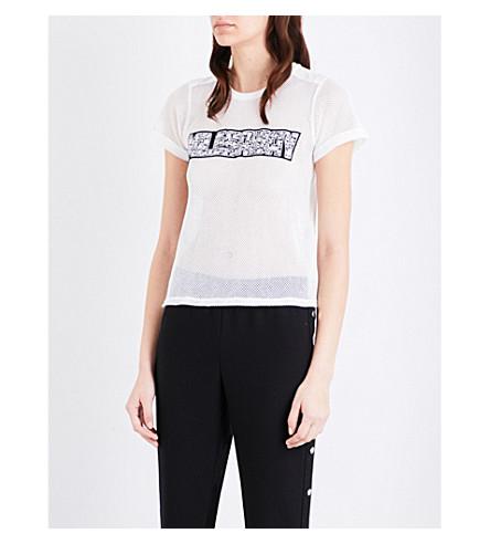 MAJE Tele fishnet-mesh T-shirt (Blanc