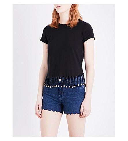 MAJE Tilia fringe detail cotton-jersey T-shirt (Black
