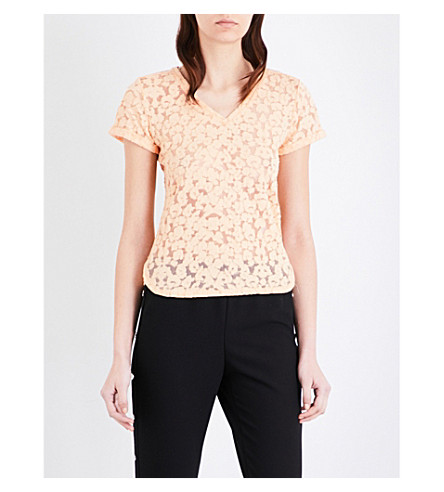 MAJE Trompette devoré cotton-blend T-shirt (Mandarine