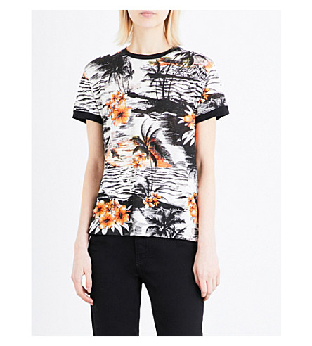 MAJE Tuesday Hawaiian-print linen T-shirt (Imprime