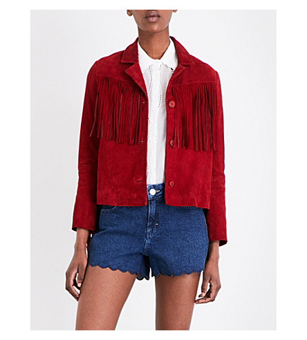 MAJE Varcity fringed suede jacket (Rouge