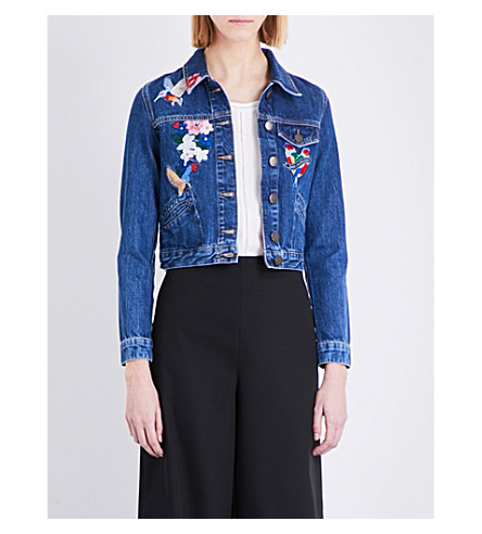 MAJE Vivo embroidered denim jacket (Bleu