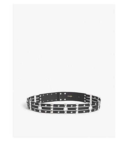 MAJE Embellished leather belt (Black