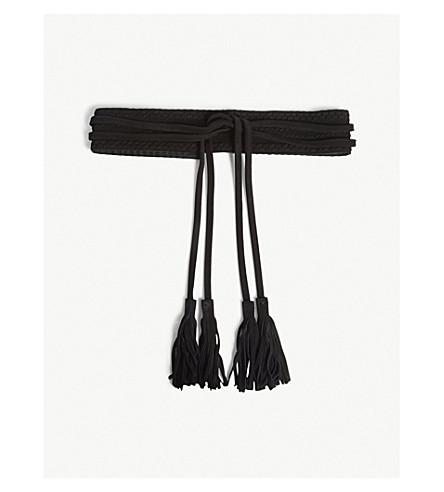 MAJE Anoushka suede tassel-tie belt (Black