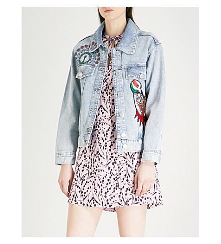 MAJE Baltimore embroidered denim jacket (Blue