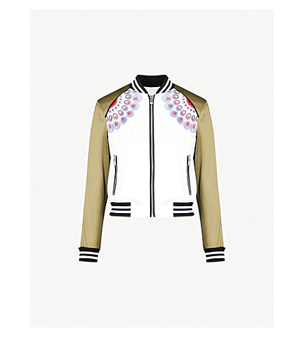 MAJE Bamby embroidered satin bomber jacket (Khaki/olive