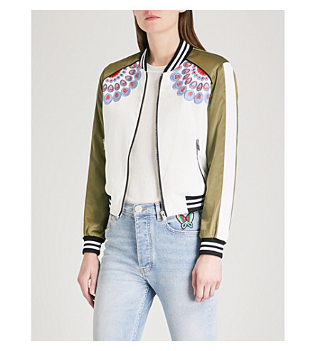 MAJE Bamby embroidered satin bomber jacket (Khaki/olive