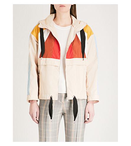 MAJE Banelo contrast-panel shell coat (Cream