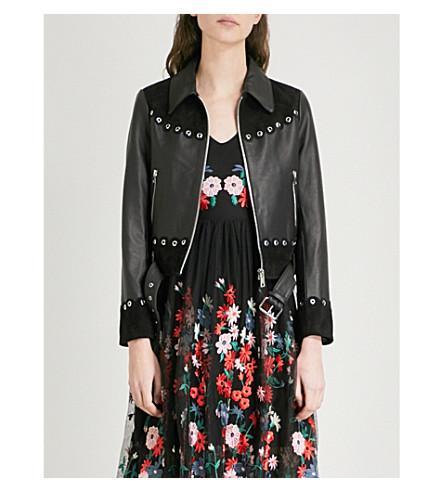 MAJE Barisco embellished leather jacket (Black