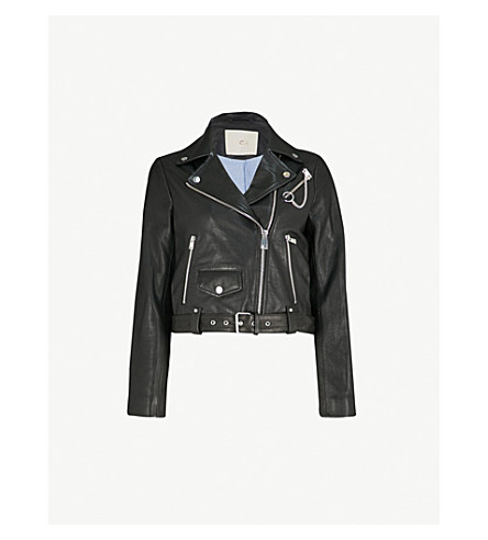 MAJE Bassung chain-detail leather jacket (Black