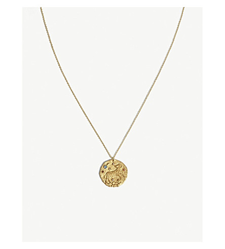 MAJE BELIER Aries brass coin necklace (Or