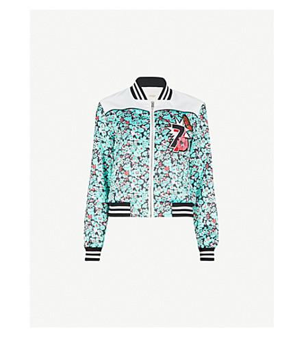 MAJE Bert satin bomber jacket (Multi-coloured