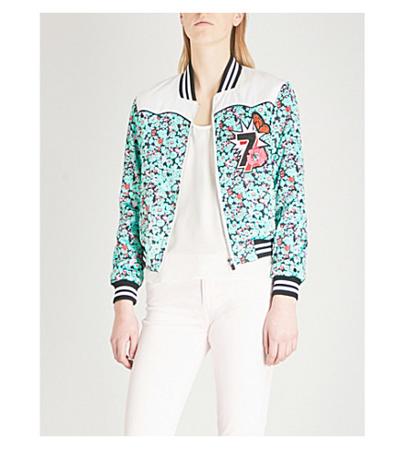 MAJE Bert satin bomber jacket (Multi-coloured