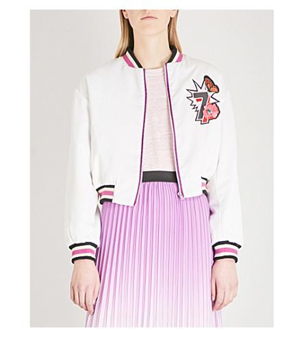 MAJE Bloomy satin bomber jacket (White
