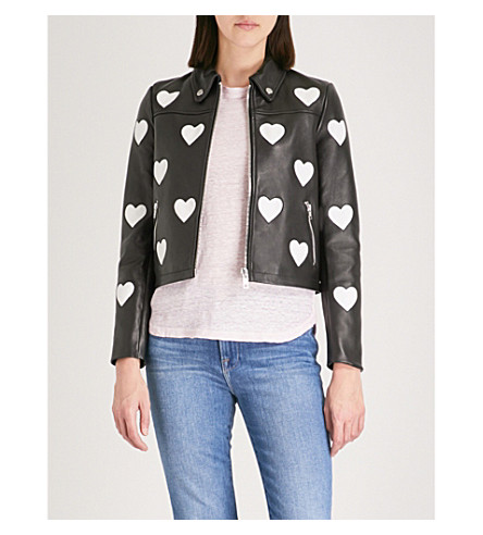 MAJE Heart detail leather jacket (Black