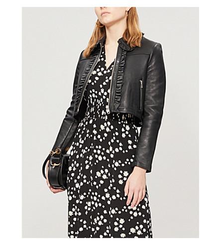 MAJE Bollant cropped leather jacket (Black