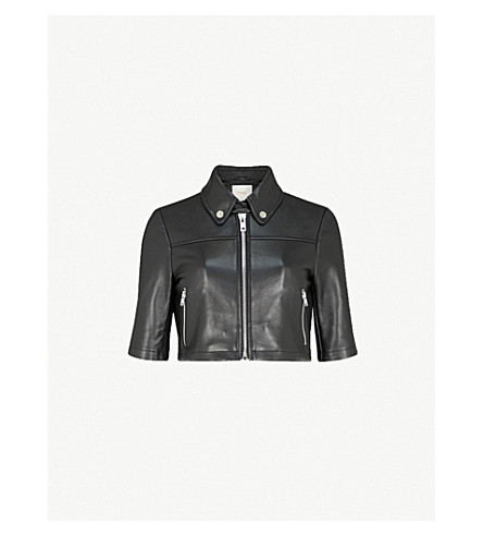 MAJE Brittany cropped leather jacket (Black