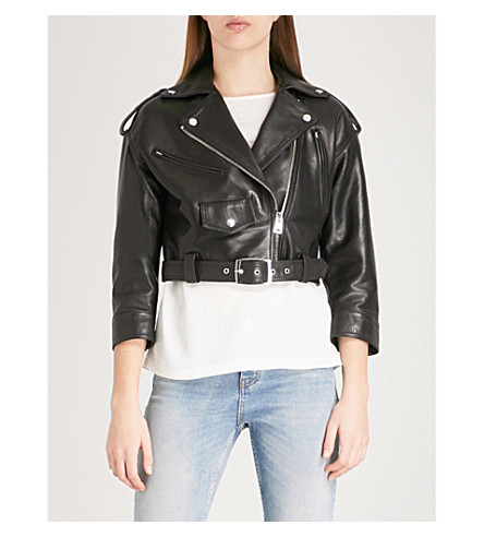 MAJE Biker leather jacket (Black
