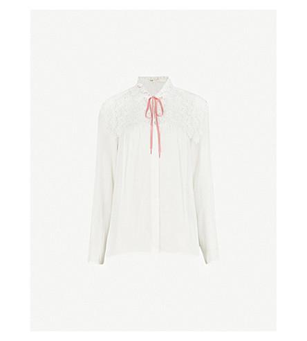 MAJE Calla embroidered crepe shirt (Cream