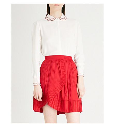 MAJE Beaded-collar crepe shirt (Cream