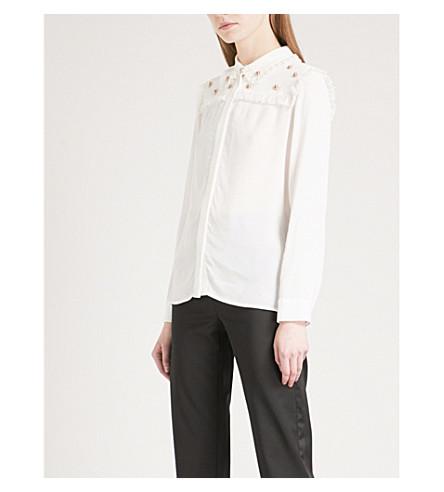 MAJE Ciel embellished crepe shirt (White