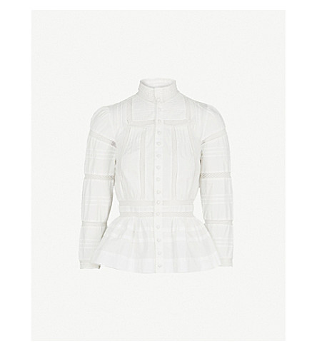 MAJE Cinola lace-trim cotton blouse (White