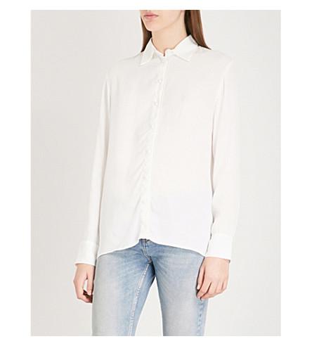 MAJE Cosmos fringed-trim crepe shirt (Cream
