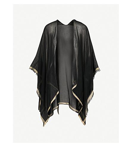 MAJE Eloha cotton-blend poncho scarf (Black