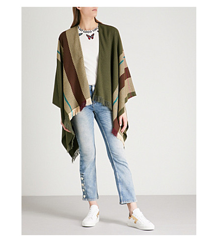 MAJE Oversized wool-blend stripe scarf (Khaki/olive