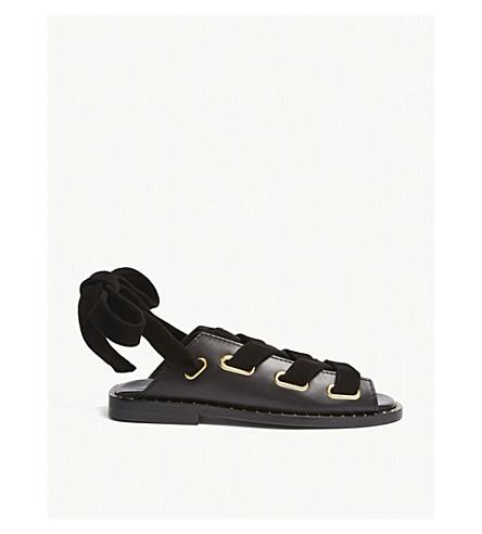 MAJE Leather flat sandals (Black+210