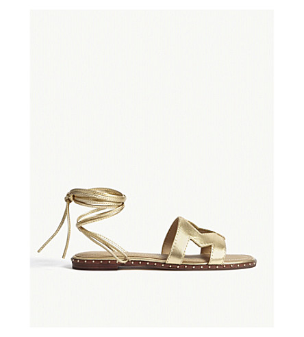 MAJE Metallic leather 'M' sandals (Gold