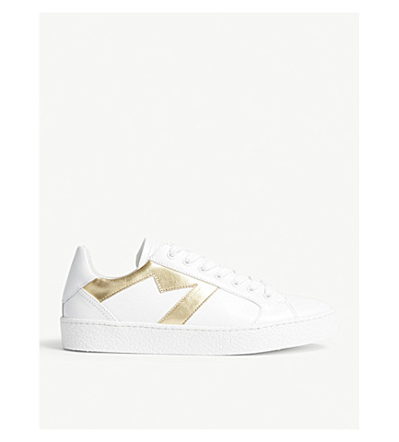 MAJE Frenchy 'M' leather trainers (Gold