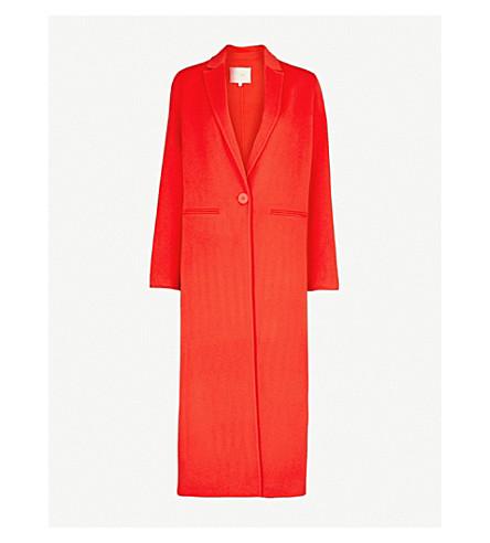 MAJE Galaxia notch-lapel wool-blend coat (Orange