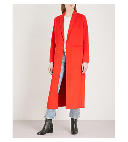 MAJE Galaxia notch-lapel wool-blend coat (Orange