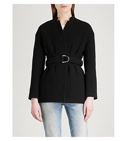 MAJE Gato buckled-belt cotton-blend blazer (Black