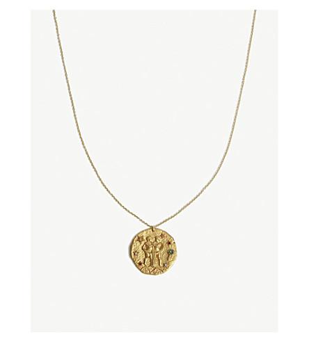 MAJE GEMEAUX Gemini zodiac brass coin necklace (Or
