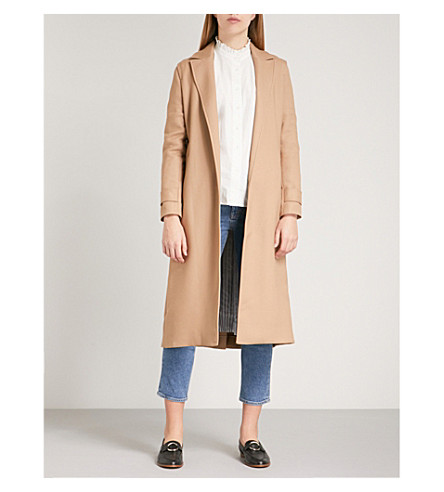 MAJE Gumpy pleated-back woven trench coat (Camel