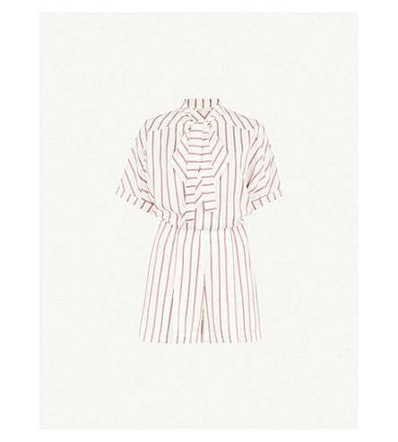 MAJE Imaly striped satin playsuit (Multi-coloured